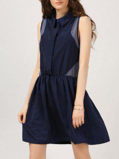 Half Button Voile Panel Casual Dress - Bleu Violet L