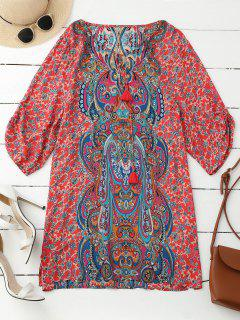 Ruched Sleeve Retro Paisley Print Tunic Dress - Red M