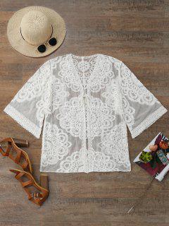 Lace Kimono Cover Up - White