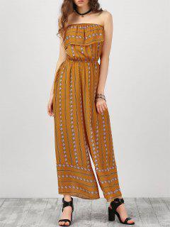 Vestido Largo Sin Tirantes De Argyle Con Volantes - Amarillo Profundo S