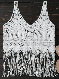 Sheer Crocheted Lace Fringed Tank Top - White