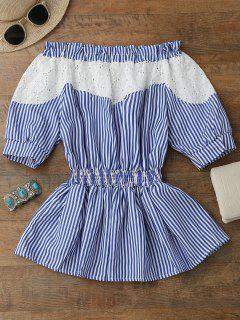Off Shoulder Hollow Out Peplum Blouse - Blue Stripe Xl