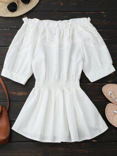 De Hombro Ahueca Hacia Fuera La Blusa De Peplum - Blanco L