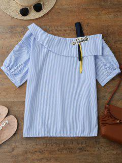 Skew Neck Applique Striped Blouse - Blue S