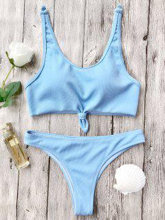 Knotted Bralette High Cut Bikini Set - Light Blue L