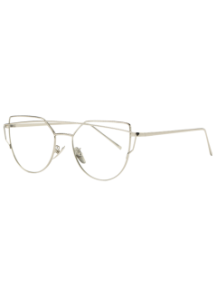 Metal Bar Silver Frame Sunglasses - Clear White