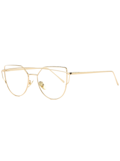 Metal Bar Golden Frame Pilot Sunglasses - Transparent