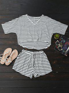 High Low Striped T-Shirt With Drawstring Shorts - Stripe M