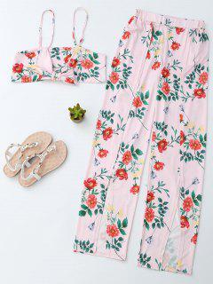Cultivador Floral Cami Top Con Pantalones Laterales Slit - Rosa L