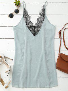 Cami Lace Panel Satin Backless Dress - Light Green L