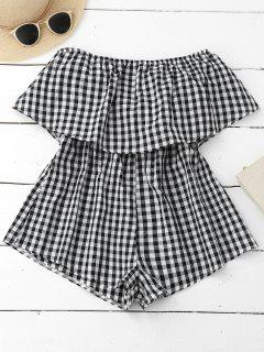 Checked Overlay Tube Romper - Plaid S