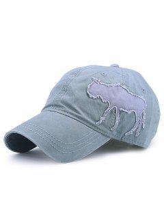 Gnu Shape Patchwork Denim Baseball Hat - Sage Green