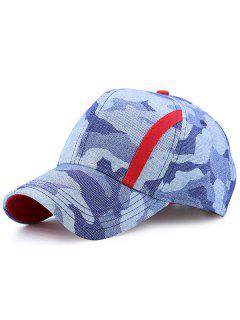 Single Stria Camouflage Spliced Baseball Cap - Blue Camouflage