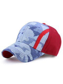 Single Stria Camouflage Spliced Baseball Cap - Red