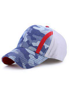 Single Stria Camouflage Spliced Baseball Cap - Grey White