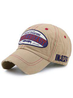 Artificial Abrasion Nostalgic Letters Embroidery Baseball Hat - Light Coffee