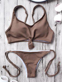 Cami Bralette String Bikini Set - Coffee L