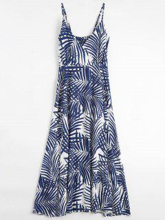 Palm Tree Print Slip Maxi Holiday Dress - M