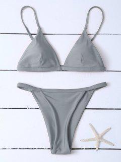 Low Waisted Spaghetti Strap Bikini Swimwear - Gray L
