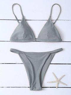 Low Waisted Spaghetti Strap Bikini Swimwear - Gray M