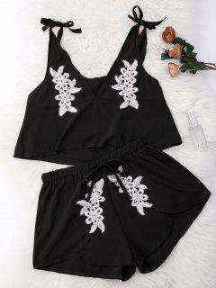 Drawstring Lace Applique Loungewear Suit - Black L