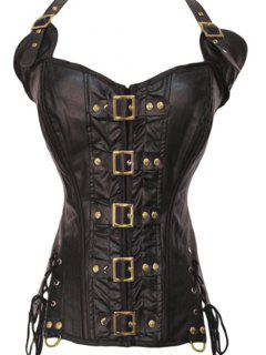 Faux Leather Lace-Up Halter Steampunk Corset Top - Brown 2xl