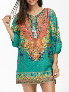 Baroque Print Tunic Dress With Tassel - M