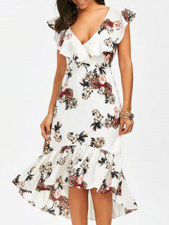 Plunging Floral Ruffle Backless Tea Length Dress - White Xl