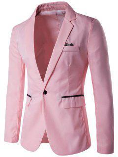 One-Button Lapel Edging Design Blazer - Pink M