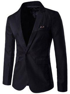 One-Button Lapel Edging Design Blazer - Black M
