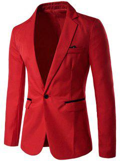 One Button Men Blazer - Red M