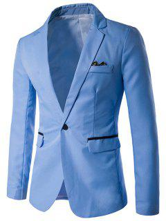 One-Button Lapel Edging Design Blazer - Azure M
