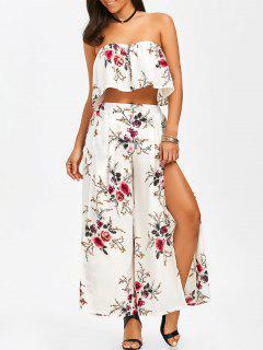 Strapless Ruffle Crop Top And Slit Wide Leg Pants - White L