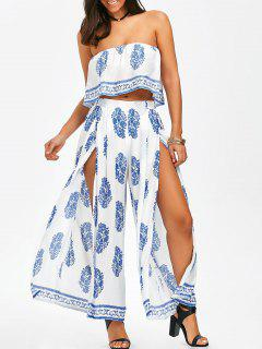 Strapless Ruffle Crop Top And Slit Wide Leg Pants - Blue And White L