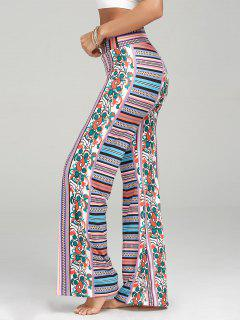 High Waisted Bohemian Print Palazzo Pants - Multi M