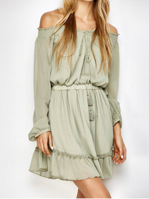women's Off The Shoulder Chiffon Ruffle Mini Dress - LIGHT GREEN 2XL Mobile