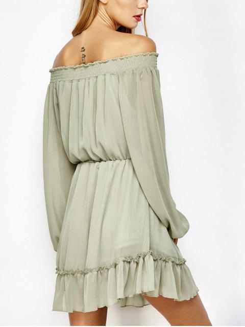 online Off The Shoulder Chiffon Ruffle Mini Dress - LIGHT GREEN S Mobile