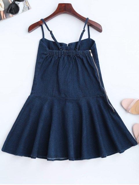 fashion Denim Lace Up Skater Dress - DENIM BLUE L Mobile
