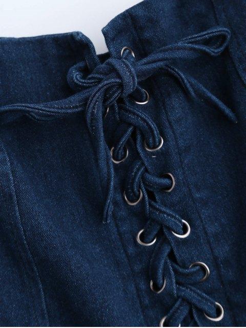 Denim Lace Up Skater Dress - Denim Bleu S Mobile