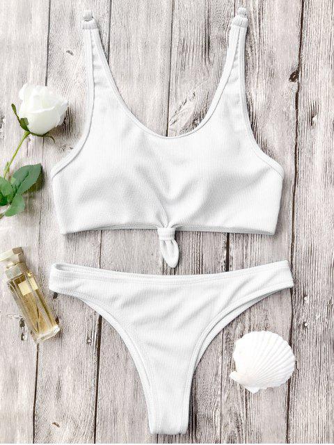 Ensemble de bikini brassière avec nœud noué découpé haut - Blanc S Mobile