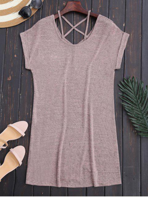 latest Criss Cross V Back Knit Shift Dress - LIGHT PINK M Mobile