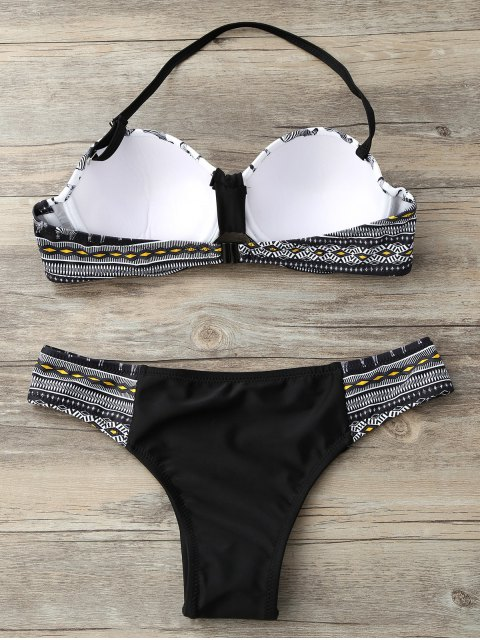 lady Geometric Horse Print Bikini Set - BLACK M Mobile
