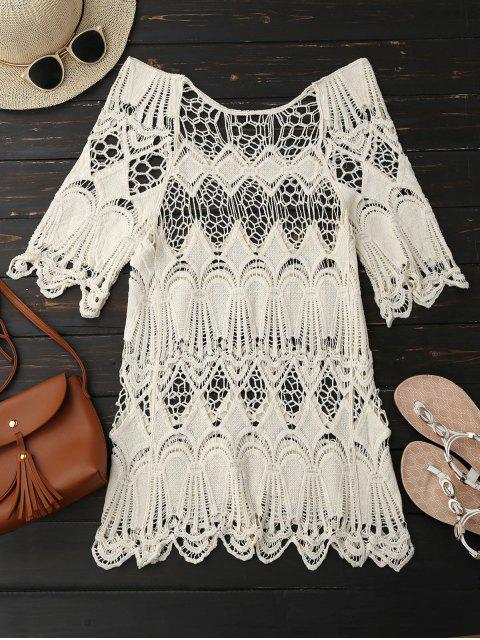 best Hollow Out Scalloped Beach Top - OFF-WHITE ONE SIZE Mobile
