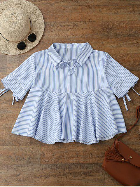 sale Tie Front Skirted Striped Shirt - BLUE M Mobile