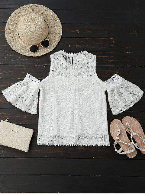 latest Cold Shoulder Flare Sleeve Lace Top - WHITE M Mobile