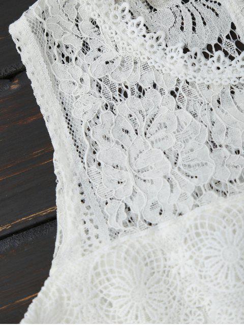 Haut épaules dénudées en dentelle à manche évasée - Blanc M Mobile