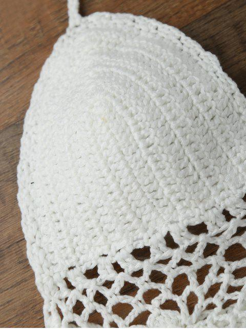 fashion Crochet Unlined Backless Crop Top - WHITE ONE SIZE Mobile