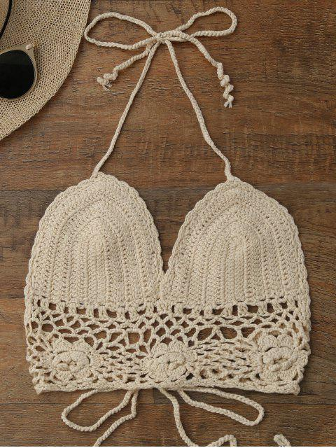 chic Crochet Unlined Backless Crop Top - PALOMINO ONE SIZE Mobile