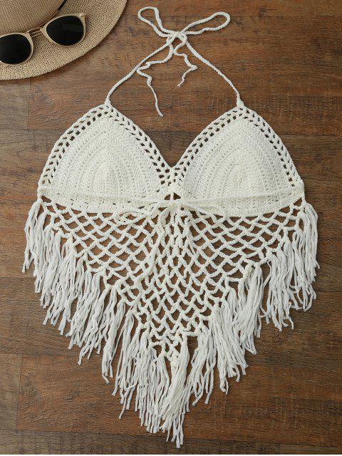 sale Halter Open Back Crochet Fringe Top - WHITE ONE SIZE Mobile