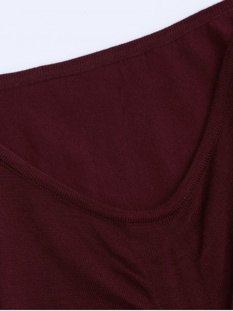 outfits Flare Sleeve Knitting Tied Top - WINE RED ONE SIZE Mobile